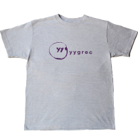 yygrec Logo T-shirts Ash Gray×Purple
