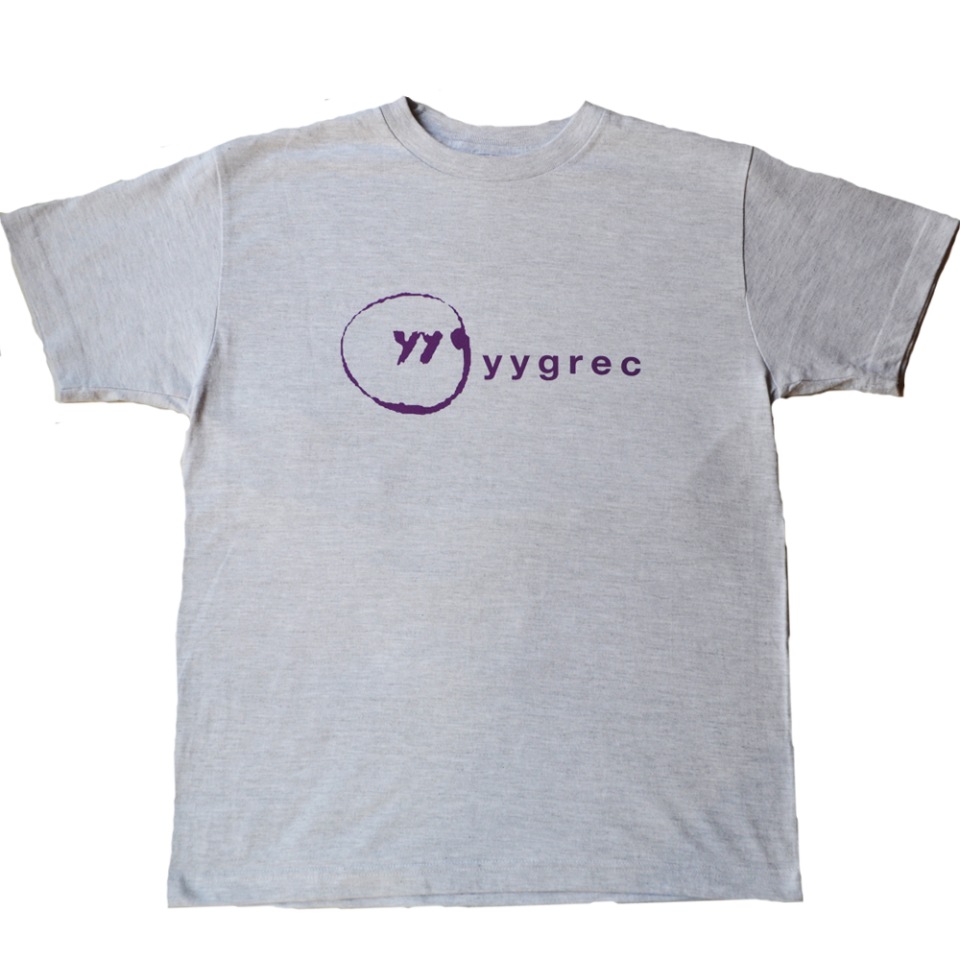 yygrec Logo T-shirts Ash Gray×Purple